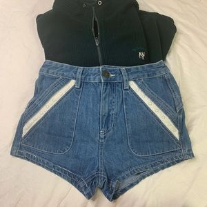 Free people denim shorts with Crotchet Detail